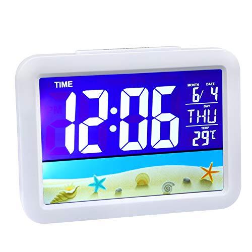 Despertador Digital Reloj Despertador Infantil con Pantalla LED de Temperatura, Tiempo,Fecha, Función Snooze,12/24 Horas,8 Música,USB y Funciona con Pilas para Dormitorio Oficina