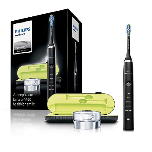 Philips Sonicare DiamondClean Electric Toothbrush, 2019 Edition, Black (UK 2-pin Bathroom Plug with USB Travel Charger)