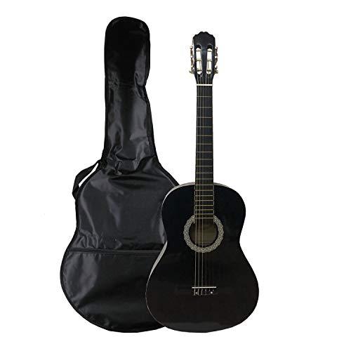 NAVARRA NV12 Guitarra clásica 4/4 negro con bordes crema incl. funda con correas tipo mochila y bolsillo para partituras/accesorios, 2 Púa