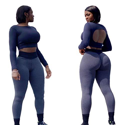 ZHURGN Pantalones de yoga de cintura alta para mujer, leggings sin fisuras, leggings de elevación de tope de scrunch, control de la barriga con textura con textura leggings de botín en ejercicio entre