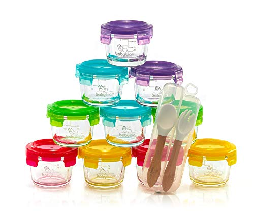 Glass Baby Food Containers with BPA-Free Locking Lids, Silicone Spoon and Fork, Set of 10, Reusable 4 oz. Storage Jars, Microwave, Freezer, Oven & Dishwasher Safe, Infant and Babies