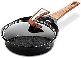 KI Nonstick Marble Frying Pan with Glass Lid, 9-1/2