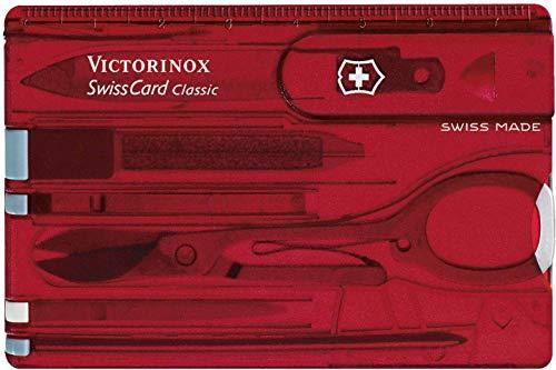 Victorinox Taschenmesser Swiss Card (10 Funktionen, Schere, Kugelschreiber) rot transparent