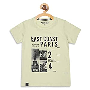 Monte Carlo Boys Printed Regular Fit Beige Coloured Cotton Blend T-Shirt 3 41N OGKbEyL. SS300