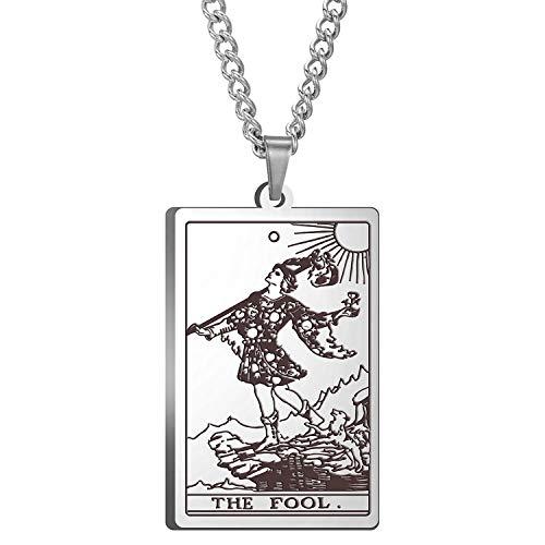 Unisex Tarot Necklace Vintage Rider Waite Tarot Card Pendant Necklace (No. 0 The Fool - Silver)