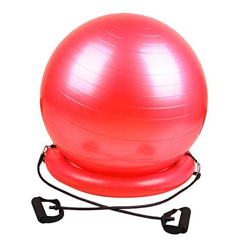 Hellery Pelota de Ejercicio de PVC, Silla, Yoga, Fitness, Entrenamiento, Pelota con Base de Estabilidad - Rojo