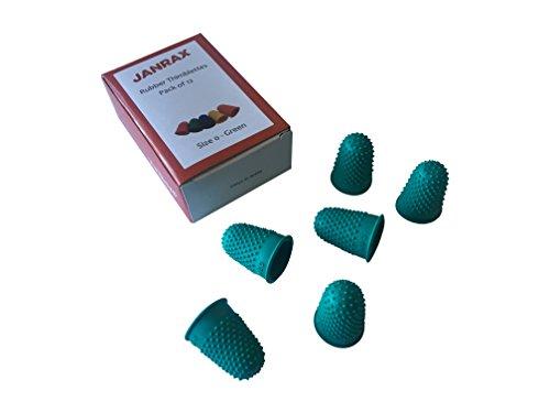 Paquete de 12 dedales de goma, color verde, n.º 0, pequeños conos de dedos.