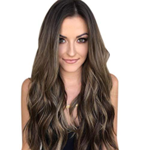 Peluca Pelucas para MujeresMix Colors Gradient Long Curly Synthetic Wig Full Wavy...