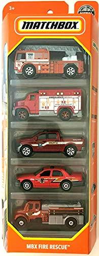Matchbox MBX Fire Rescue 5 Pack, 1:64 Scale...