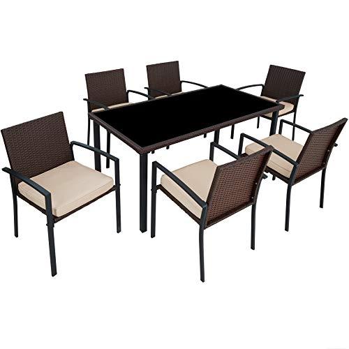 TecTake 800663 - Conjunto Muebles Jardín de Poliratán, Set 6 Sillas y 1 Mesa, Tornillos de Acero Inoxidable (Marrón | No. 403028)