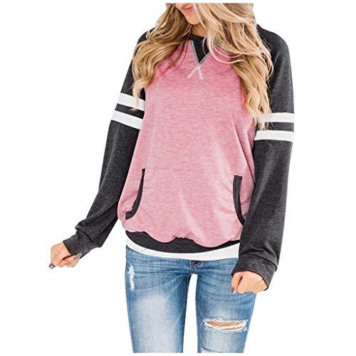 Casaul Tops für Frauen,Evansamp Ladys Beiläufige Lange Hülsen-Tunika-Oberseiten-Farben-Block O Ansatz-Taschen Gestreifter Loser Pullover(Pink,S)