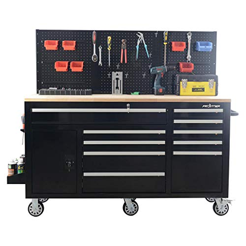 Frontier 62 in. 10-Drawer Tool Chest Cabinet with Pegboard Back Wall, Heavy Duty Mobile Workbench