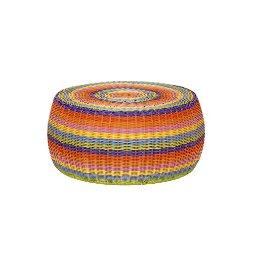 Household Essentials ML-5006 Colorful Indoor Outdoor Resin Wicker Foot Stool Ottoman Storage Basket, Rainbow