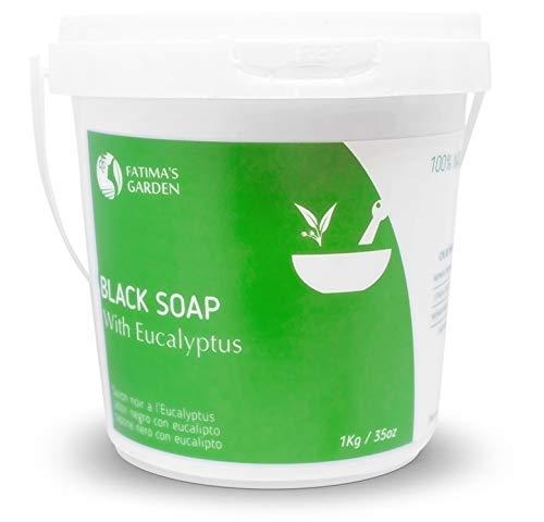 Savon Noir à l'eucalyptus (Savon Beldi), 100% naturel par Fatima's Garden - Savon noir Marocain, Exfoliant corps, gommage pour Hammam Pur et Naturel, Purifiant, Nettoyant, Rituel Hammam- 1000gr (1kg)