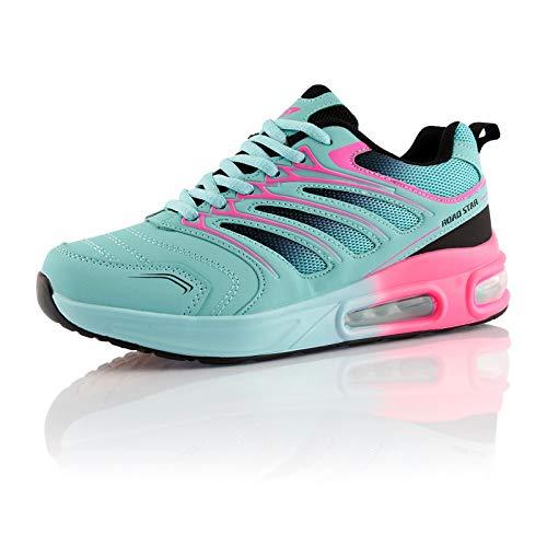 Fusskleidung® Damen Herren Sportschuhe Dämpfung Sneaker leichte Laufschuhe Türkis Schwarz Pink EU 38