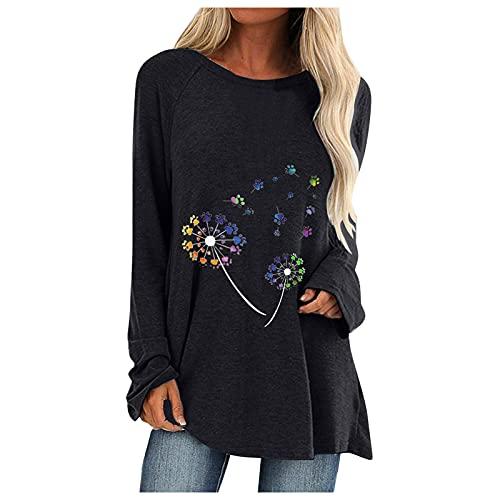 Blouses voor vrouwen, overhemden voor vrouwen, damesmode plus size tops lange mouwen O-hals T-shirts print losse blouse, dames T-shirt, zwart, S
