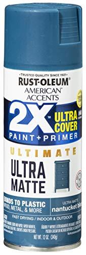 Rust-Oleum 328400 American Accents Spray Paint, 12 Oz, Ultra Matte Nantucket Blue