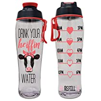 50 Strong BPA-free Reusable Water Bottle with Time Marker, 30 Ounces (Heiffen Water)