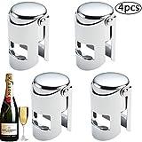 BETOY Sektflaschenverschluss, 4 Stücke Flaschenverschluss Champagner Edelstahl Weinverschluss Vakuum Versiegelt Champagnerverschluss Sektverschluß 5,5x3,8cm