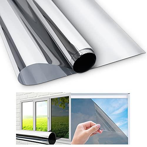 Sonnenschutzfolie Fenster Innen Außen,Fensterfolie Sichtschutz,Sichtschutzfolie Fenster,Spiegelfolie Fenster Sichtschutz,Anti-Uv 99%, Einseitiger Spiegel Reflektiert Starkes Sonnenlicht,200x45CM