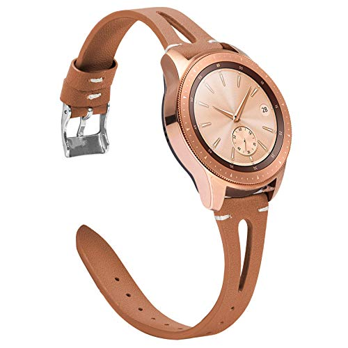 Ownaco Leder Armband Kompatibel mit Samsung Galaxy Watch 42mm Uhrenarmband Frauen Männer 20mm Echtleder Armband Ersatz für Galaxy Active 2 40mm 44mm (20mm Breite, Braun)