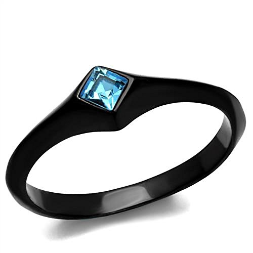 Women Princess Cut Sea Blue Cubic Zirconia Stainless Steel Black Engagement Ring