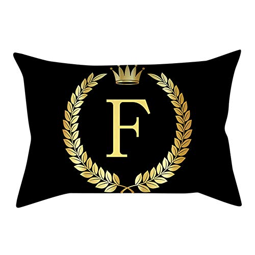 Cushion Covers, Black Gold Letters Series Home Decorative Hand Made Pillow Case Cushion Cover 12 * 20inch, F