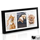 bomoe Marco de Fotos múltiple Galeria para 3 Fotos (3X 10x15 cm) - Tamaño: 37x20x2,5 cm - Negro