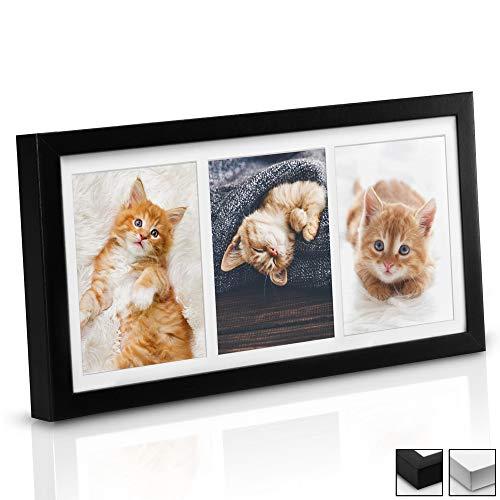 bomoe Bilderrahmen Galeria für 3 Fotos 10x15 cm - Fotorahmen aus Holz, Plexiglas, Metall-Aufhängung, Aufsteller & Passepartout Multirahmen für Bilder Collagen - Schwarz