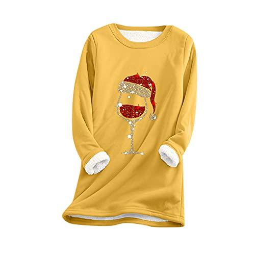Felpa con cappuccio da donna nera con stampa natalizia, a maniche lunghe, casual, con cappuccio, con tasca e stampa natalizia, felpa lunga, giallo., L