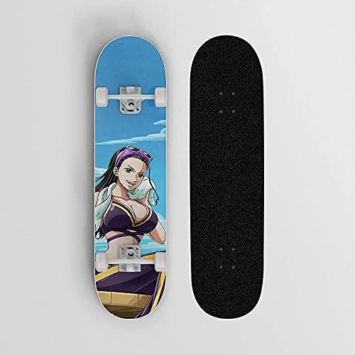Patineta de anime para UNO Pieza Nico.Robin Gafas de sol púrpuras, Mini crucero, patineta de cubierta de arce de 7 capas, soporte de onime de 100 kg de carga de carga, doble inclinación de cuatro rued