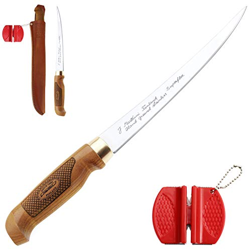 Marttiini, Coltello Superflex, da 30,6cm + affilacoltelli Lansky Crock, coltello estremamente tagliente e flessibile, per pesce e carne