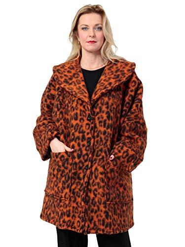 AKH FASHION Kurzmantel Wolle Damen Animal Print Leo, Oversize Jacke Damen große Größen A-Linie, orange, XXL Mantel Damen gestreift