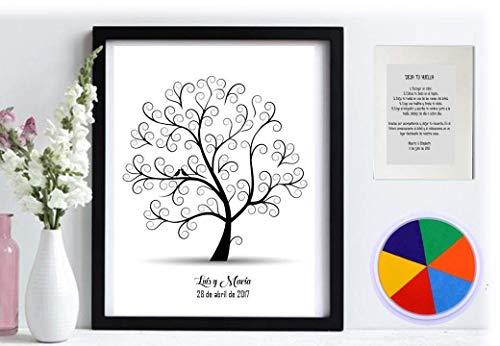 Cuadro árbol de huellas. Con marco varios colores a elegir. Personalizado Bodas, Comuniones. Tintas e instrucciones incluidas.Modelo pajaritos
