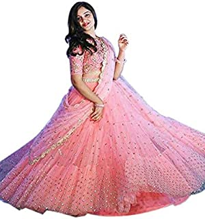JUNKLY Women's Peach Color Bangalori Silk Lehenga Choli