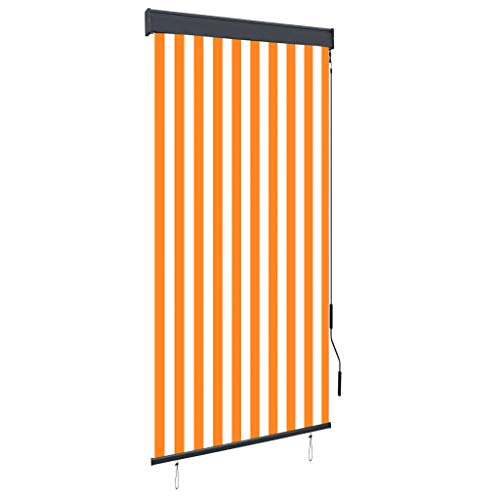 vidaXL Estor Enrollable de Exterior Persiana Toldo Vertical de Jardín Balcón Porche Pantallas de Privacidad Sombra 100x250cm Blanco y Naranja