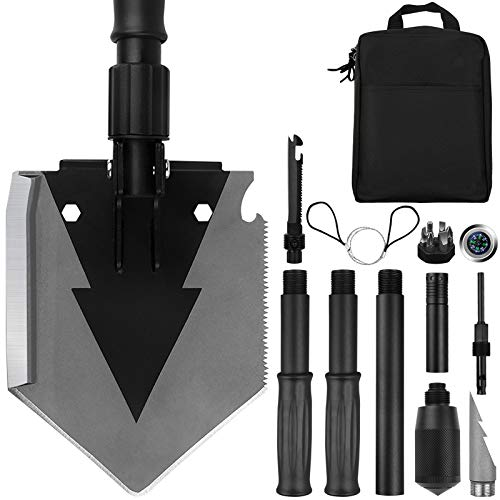 Yeacool Camping Shovel Military 38'', Tactical Heavyduty Folding Spade, Compact Survival Shovel Multitool for Off-Roading, Entrenching, Emergency, Outdoor