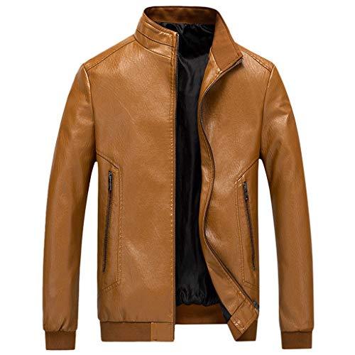 Herren Lederjacke Männer Dünnschnitt Motorradjacke Einfarbig Bikejacke Vintage Coole Jacke Leder Herbst Winter Stehkragen Club Mantel Windbreaker übergangsjacke Outdoorjacke CICIYONER