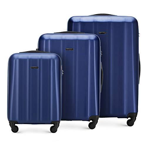 Stabiler Reisekoffer Koffer-Set Trolley von Wittchen Material polycarbonat 4 Lenkrollen Zahlenschloss Blau