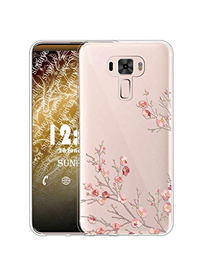 Sunrive Kompatibel mit Asus Zenfone 3 ZE552KL Hülle Silikon, Transparent Handyhülle Schutzhülle Etui Hülle (TPU Blume)+Gratis Universal Eingabestift MEHRWEG