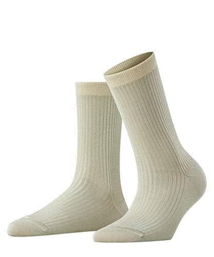 FALKE Damen Socken Shiny Rib - Baumwollmischung, 1 Paar, Grau (Stone 3937), Größe: 39-42