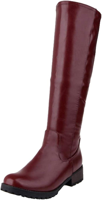 Cocey Women Knee High Low Heel Boots Black
