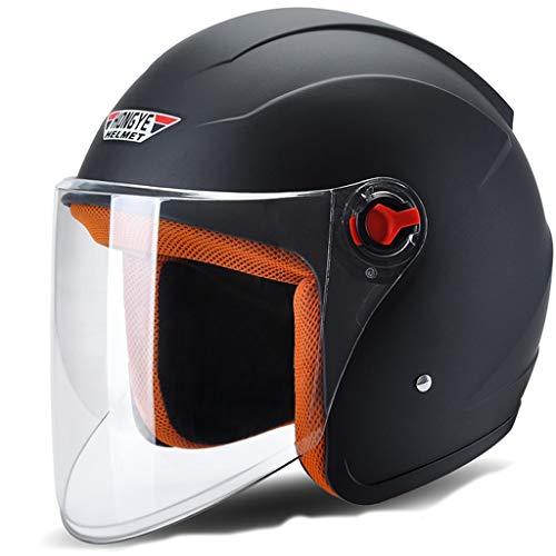 FLY® Casque De Moto Électrique, Demi-casque Chaud Quatre Saisons, Casque Anti-buée, Unisexe (Couleur : NOIR)