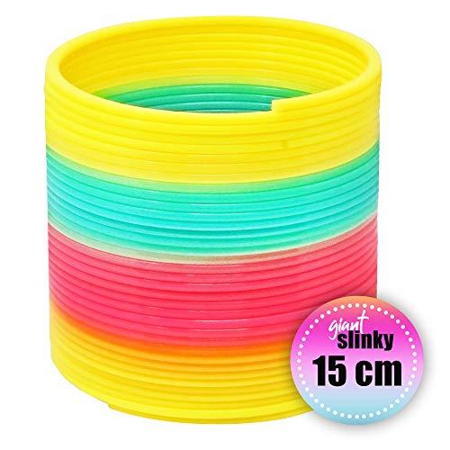 THE TWIDDLERS Packung mit 1 Riesenspirale Slinky - Feder aus Plastik Regenbogen Farbe 15x15cm – ideales Innenspielzeug für Kinder - Treppenläufer um Kinder glücklich zu Machen und zu beschäftigen