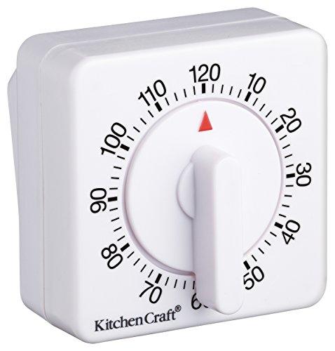 KitchenCraft Küchenuhr, aufziehbarer Timer, Mechanisch, Weiß, 2 Stunden, 7 cm x 7 cm