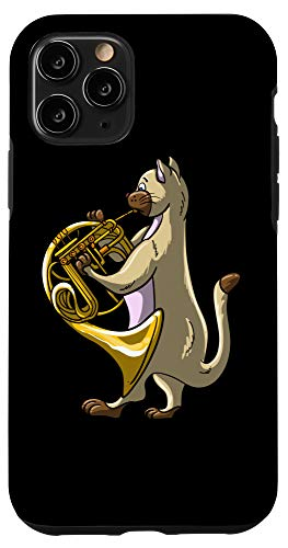iPhone 11 Pro Funny Cat Playing French Horn | Cool Animal Musician Gift Case