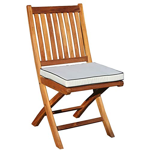 Unknown1 Cushion for Chic Teak Santa Folding Chairs Side Chair White Solid Casual Modern Contemporary Nylon Removable Cover Water Resistant