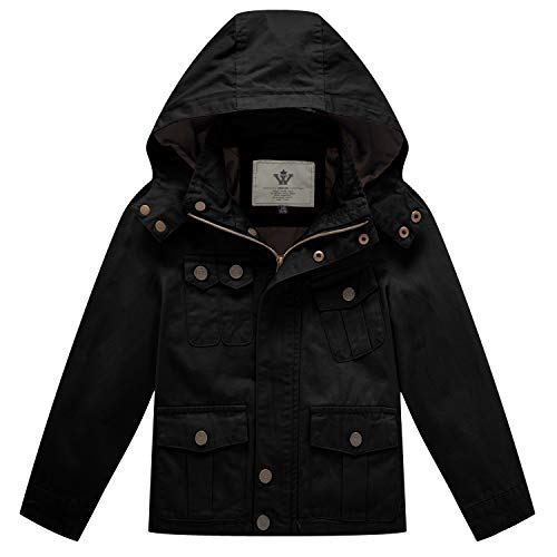WenVen Little Boys Casual Outerwear Kids Military Active Jacket (Black, 8 Years)