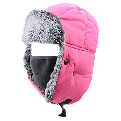Azarxis Sombrero de Aviador Anti-Viento Nieve Gorro de Invierno Unisex para Pescar Cazar Acampar Ciclismo (Rosa Roja - Piel de Conejo de imitación)