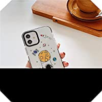 Liaog For iPhone XS 12 mini 11 Pro Max 7 8 Plus SE 2020 XXRソフトキャパクリアシリコンカバー用のかわいい宇宙飛行士スペースデザイン電話ケース-PP320-2-For-For iPhone12ProMax